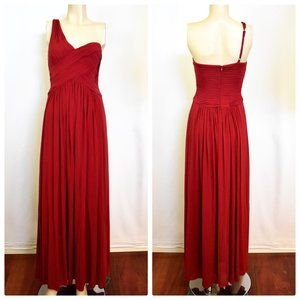 BCBGMaxAzria One Shoulder Red Long Gown